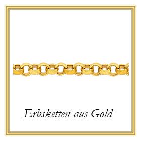 Erbsketten aus 585 - 14 Karat Gelbgold