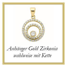 Gold Anhänger mit Zirkonia aus Gold