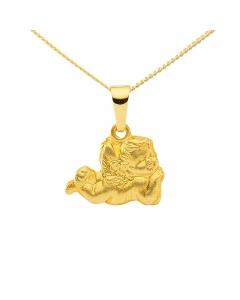 Anhänger  Engel 333 - 8 kt Gelbgold mit massiver Goldkette