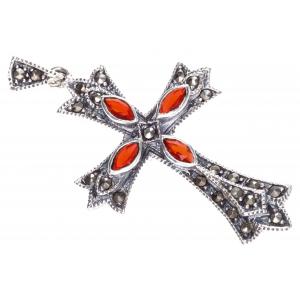 Kreuzanhänger Mittelalter IARA  Roter Kristall und Markasitsteinen Silber - Kreuze - 44x25mm