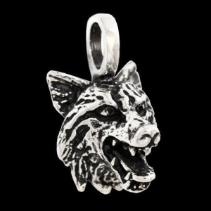 Wolf Schmuck Anhänger 925er Silber - Wolf Hund - 28x14mm