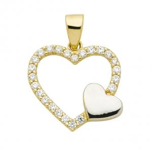 Anhänger Herz aus Gold mit Zirkonia Steinen rhodiniert aus massiv 333 - 8 kt Gelbgold