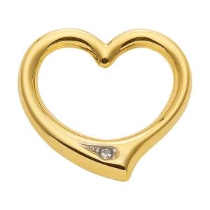 Anhänger Swingheart  Herz Kettenanhänger mit Diamant aus massiv 585 - 14 kt Gelbgold
