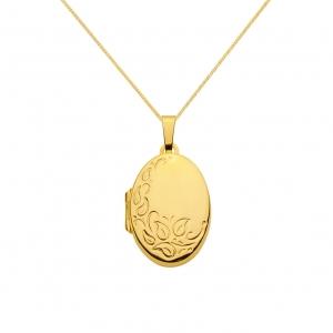 Anhänger Medaillon oval 585 - 14 kt Gelbgold mit massiver Goldkette